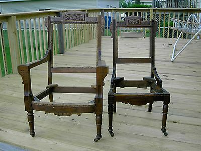 Eastlake Victorian Chairs Wood Frames 2 Matching Pieces Walnut?