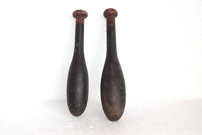 2 Pc Vintage Wooden Hand Carved Indian Washing Cloth Bat/Wand Collectible W58