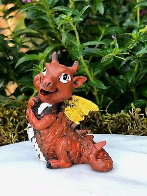 Miniature Dollhouse FAIRY GARDEN ~ Mini Baby Orange Dragon Figurine ~ NEW