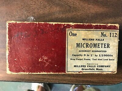 "Vintage 0-1"" Millers Falls No.112 micrometer Greenfield Mass. with box"