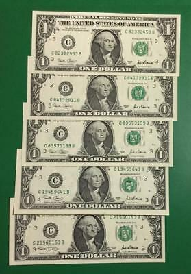 2001 $1 Green Federal Philadelphia Choice Crisp AU Set of 5! Old Currency