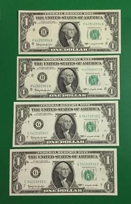 1963 $1 Green Federal Chicago Consecs & St. Louis Consecs Unc Set of 4 Total