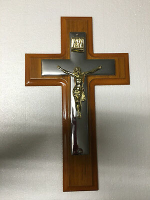 Wall Mounted Wood Crucifix With Gold Jesus on Chrome Cross