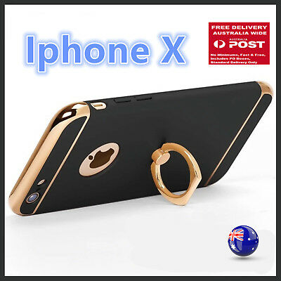 IPHONE X Black Ring Holder stand support Protective Hard Case Protector Cover