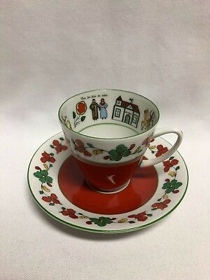 Porsgrund Norway Wedding Procession Cup & Saucer