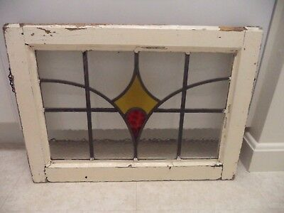 "Old English Leaded STAINED GLASS WINDOW  Yellow & Red  20"" x 15"""