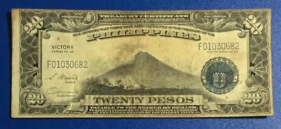 "1944 $20 Philippines Treasury Certificate World War II ""VICTORY NOTE""! Currency"