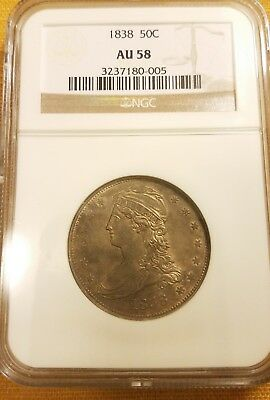 PRICE REDUCED 1838 Capped Bust 50 Cent Piece Half Dollar 50C AU 58 NGC Graded