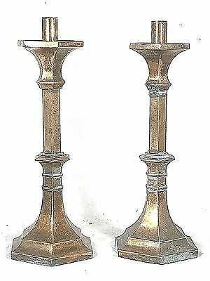 ANTIQUE EARLY 20th CENTURY HEAVY COPPER PLATED METAL CHURCH CANDLE STICKS
