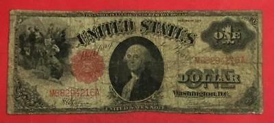 "1917 $1 US RED Seal ""LARGE SIZE"" ""SAWHORSE"" Currency! Old US!"