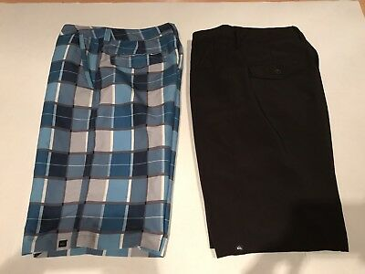 LOT OF TWO QUIKSILVER 28 BOY'S Hybrid Amphibian Shorts Plaid And Black