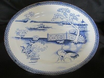 Antique Blue And White Serving Plate / Oriental Theme/t Till& Sons.willow