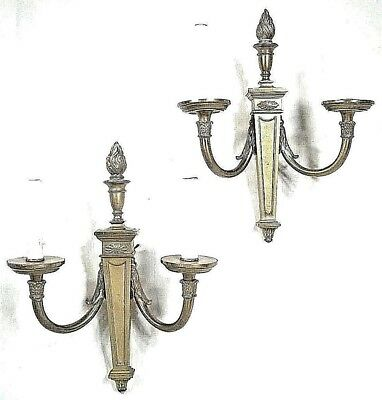 Pair  Mid Century Classical Regency Flame Top Double Arm Brass Sconces