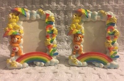 Care Bears Vintage 1980's Picture Frame 2X3 Love Rainbow Funshine Heart VTG