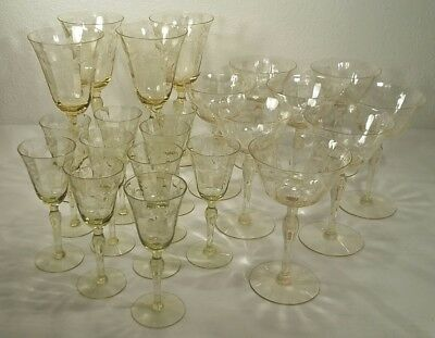 Antique Floral And Swag Etched 21 Piece Yellow Glass Stemware Set