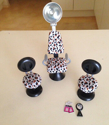 Hair Style Salon Furniture for Barbie Doll - Leopard Print Swivel Chairs - Dryer