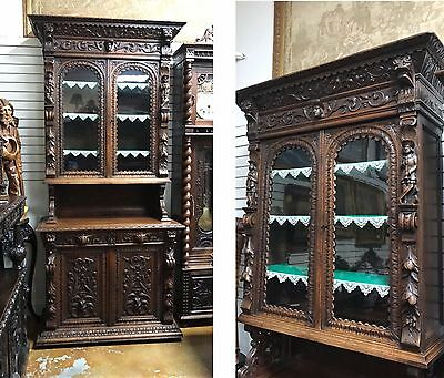 Antique French Renaissance Henry Ii Style Walnut Carved Cabinet Buffet 1880