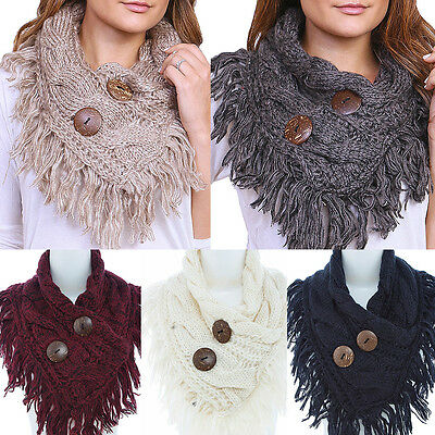 Women Winter FASHION CABLE KNIT BUTTON FRINGED INFINITY COWL SCARF WRAP LOOP