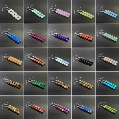 fashion assorted natural gemstone silver plated dangle earrings 6mm beads fringe
