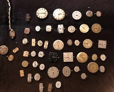 Lot Of Antique/Vintage Watch Dials, Movements And Parts- For Parts Only