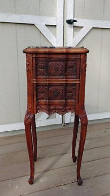 Antique John M Smyth Co Walnut French Nightstand Accent Table Black Marble Top
