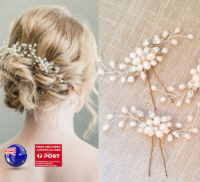 2PC Women Party White Rice Pearl Silver Crystal Wedding Bride Hair Bobby U pin