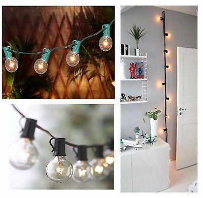 25 Foot Globe Patio Outdoor String Lights - Set of 25 G50/G40/G30 Clear Bulbs