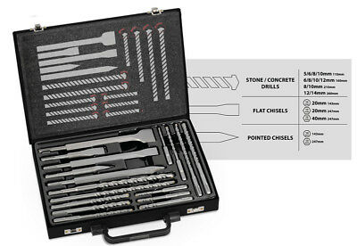 17pc Masonry Drill Bit Chisel Kit SDS Plus Adapter Portable Hammer Tool Set