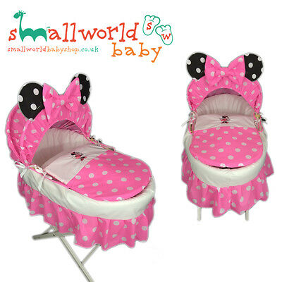 Personalised Girls Minnie Mouse Moses Basket Cover Set (NEXT DAY DISPATCH)