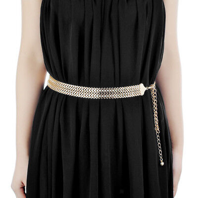 Gold Diamante Ladies Waist Chain Belts Crystal Rhinestone Dress Wasitband