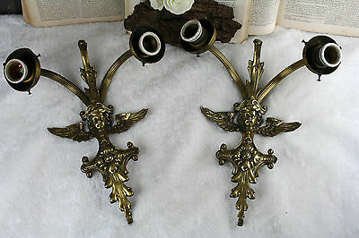 PAIR antique french Wall lights sconces putti decor angels brass 1930