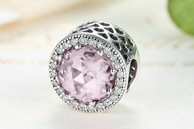 Opalescent Pink Heart Charm 925 Genuine Sterling Silver Hearts Love  Bead S925
