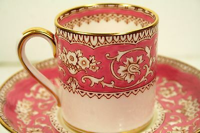 CROWN STAFFORDSHIRE TEA CUP & SAUCER ELLESMERE ROSE PINK WHITE & GOLD Perfect!