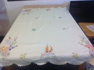 Vintage Hand Embroidered Linen Tablecloth- Crinoline Ladies