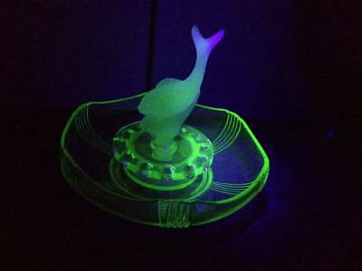 Art Deco Green Uranium Glass Float Bowl with Fish Insert to Frog