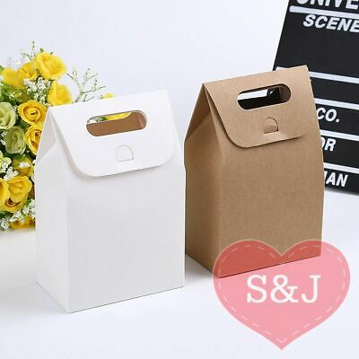 10x Kraft Paper Bag Party Favour Box 10x6x15cm White Brown Pouch Handle Cupcake