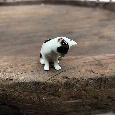 3-Colored Cat Kitten Staring Down Calico Cat Figurine Cats Ceramic Collection