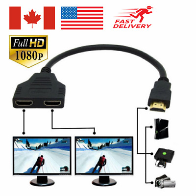 HDMI Splitter 2 Port Video Audio Adapter Converter HDTV 1 Male in 2 Female Out