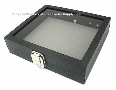 Glass Top Lid Grey Pad Box Organizer Case Display Pins, Medals, Jewelry
