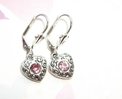 Vintage Crystal set Filigree Valentine Heart Earrings Silver plated Pink