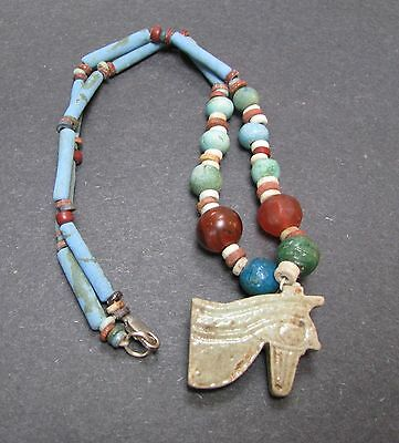 NILE  Ancient Egyptian Eye of Horus Amulet Mummy Bead Necklace ca 1000 BC