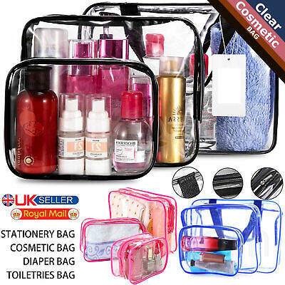 3Pcs PVC Clear Toiletry Cosmetic Makeup Bag Case Travel Holder Pouch Wash Kit UK