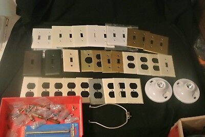 *Lot* Vintage Used Outlet Covers Wall Plates Ivory, Brown, Brass, Metal, Plastic
