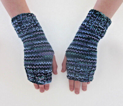 Hand Knit Fingerless Gloves-Texting Gloves-Luxury- Lavender/teal/blue