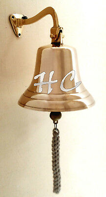 "8"" Large Vintage Brass Ship Bell With Bracket Maritime Polished Nautical Bells"