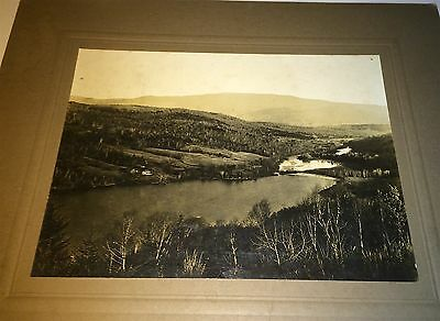 Rare Antique American River / Dam? & Rolling Hills! Houses! C.1900 Cabinet Photo