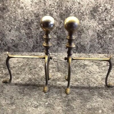 Pair of vintage brass dog irons