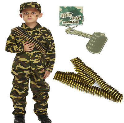 Army Boys Soldier Action Man Fancy Dress Costume Outfit Shades Dog Tag 4-12
