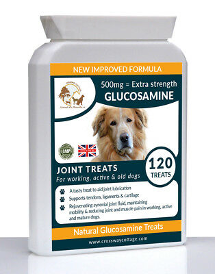 Natural Glucosamine Dog Tablets for Arthritic Joint & Muscle Pain + Vitamin C