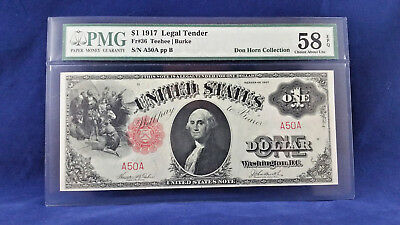 Super  RARE 1917 $1 LEGAL TENDER AA BLOCK SERIAL # 50 PMG 58 EPQ !
